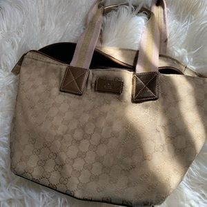 Beautiful authentic Gucci tote, pink/bronze color